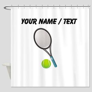 Custom Tennis Racket And Ball Shower Curtain