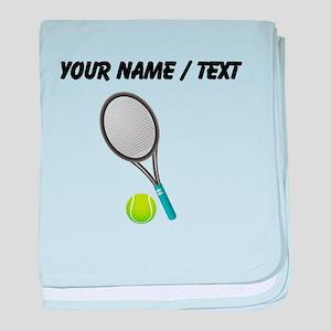 Custom Tennis Racket And Ball baby blanket