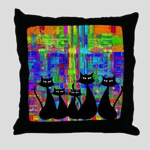 Black Cats 3 Throw Pillow