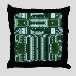 Green Geek Motherboard Circuit Patter Throw Pillow