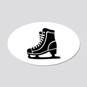 Black ice skate 20x12 Oval Wall Decal