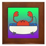 Crab in Tub (Green/Purple) Framed Tile