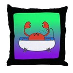 Crab in Tub (Green/Purple) Throw Pillow