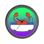 Crab in Tub (Green/Purple) Wall Clock