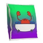 Crab in Tub (Green/Purple) Burlap Throw Pillow