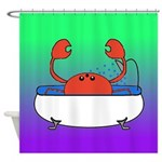 Crab in Tub (Green/Purple) Shower Curtain