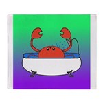 Crab in Tub (Green/Purple) Throw Blanket