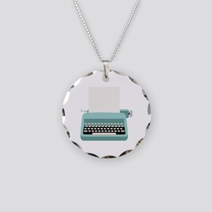 Blue Typewriter Necklace