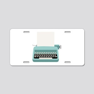 Blue Typewriter Aluminum License Plate