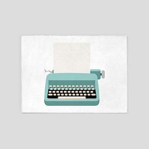 Blue Typewriter 5'x7'Area Rug