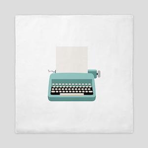 Blue Typewriter Queen Duvet