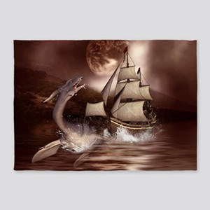 Awesome seadragon with ship in the night 5'x7'Area