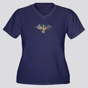 American Eag Women's Plus Size V-Neck Dark T-Shirt