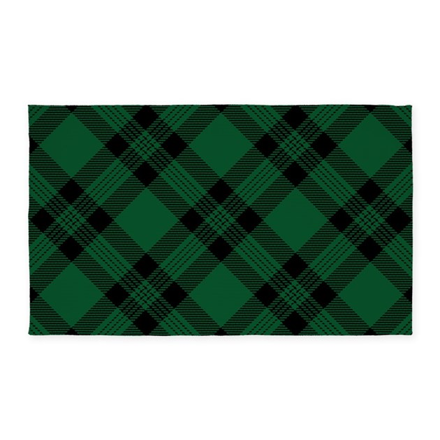 Green Plaid Pattern 3'x5' Area Rug By Artandornament