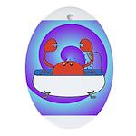 Crab in Tub (Swirls) Ornament (Oval)