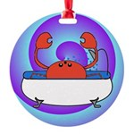 Crab in Tub (Swirls) Round Ornament