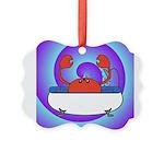 Crab in Tub (Swirls) Picture Ornament
