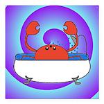 Crab in Tub (Swirls) Square Car Magnet 3