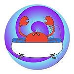 Crab in Tub (Swirls) Round Car Magnet