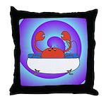 Crab in Tub (Swirls) Throw Pillow