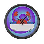 Crab in Tub (Swirls) Large Wall Clock