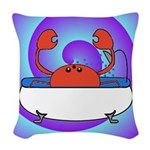Crab in Tub (Swirls) Woven Throw Pillow