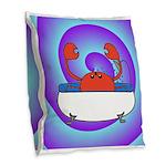 Crab in Tub (Swirls) Burlap Throw Pillow