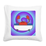 Crab in Tub (Swirls) Square Canvas Pillow