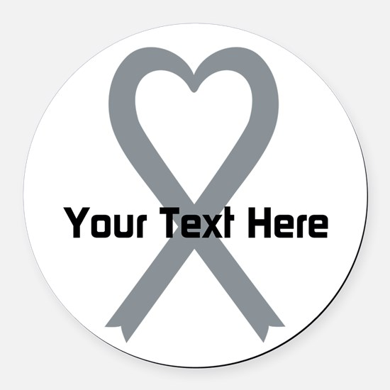 Personalized Gray Ribbon Heart Round Car Magnet