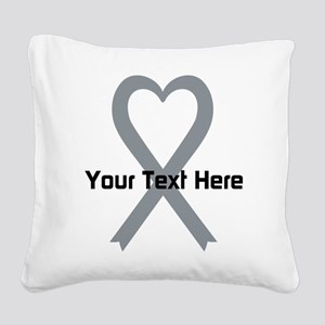 Personalized Gray Ribbon Hear Square Canvas Pillow