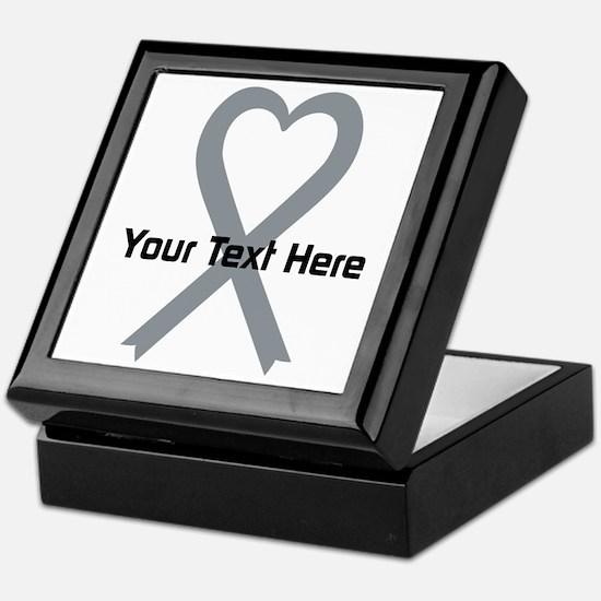 Personalized Gray Ribbon Heart Keepsake Box