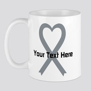 Personalized Gray Ribbon Heart Mug