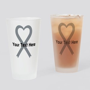 Personalized Gray Ribbon Heart Drinking Glass