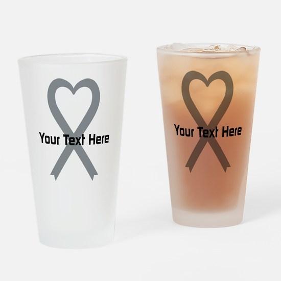 Personalized Gray Ribbon Heart Drinking Glass
