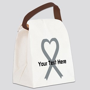 Personalized Gray Ribbon Heart Canvas Lunch Bag