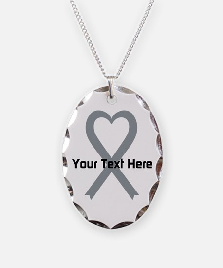 Personalized Gray Ribbon Heart Necklace Oval Charm