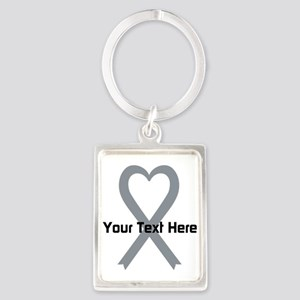 Personalized Gray Ribbon Heart Portrait Keychain