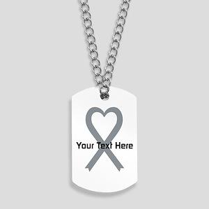 Personalized Gray Ribbon Heart Dog Tags