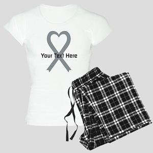 Personalized Gray Ribbon He Women's Light Pajamas