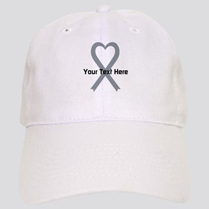 Personalized Gray Ribbon Heart Cap
