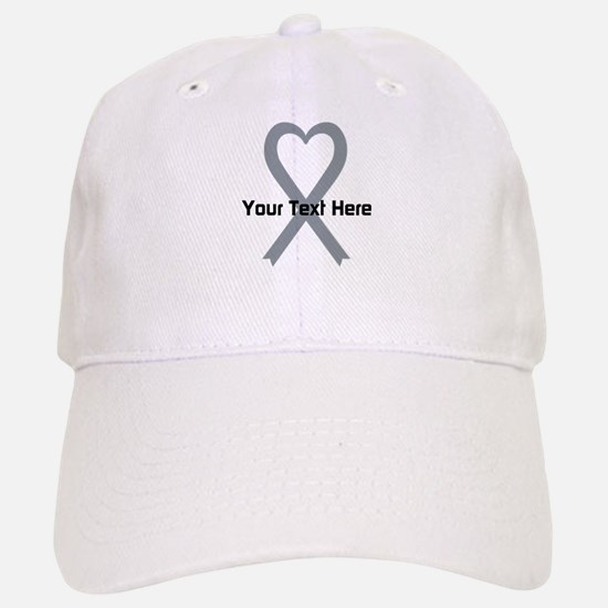 Personalized Gray Ribbon Heart Baseball Baseball Cap