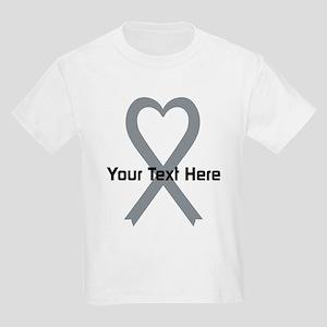 Personalized Gray Ribbon Heart Kids Light T-Shirt