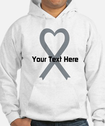 Personalized Gray Ribbon Heart Hoodie