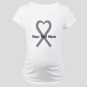 Personalized Gray Ribbon Heart Maternity T-Shirt