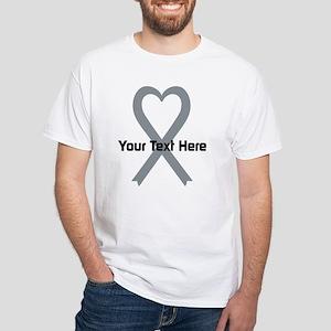 Personalized Gray Ribbon Heart White T-Shirt