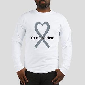 Personalized Gray Ribbon Heart Long Sleeve T-Shirt