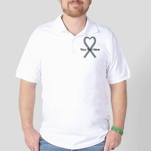 Personalized Gray Ribbon Heart Golf Shirt