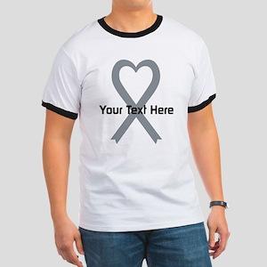 Personalized Gray Ribbon Heart Ringer T