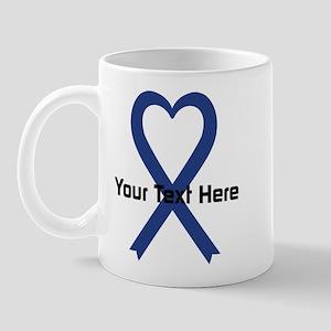 Personalized Dark Blue Ribbon Heart Mug
