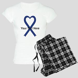 Personalized Dark Blue Ribb Women's Light Pajamas